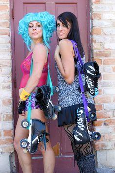 Roller skate straps for easy carrying.