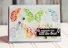 Rainbow water colored butterflies! @Stampendous @Justrite
