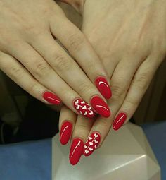Valentines nails red