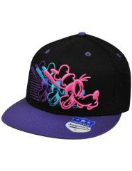 Disney Neon Line Art Goofy Black & Purple Flatbill Adjustball Snapback Mens Baseball Cap