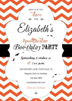 Spooktacular Boo-thday Party Invitation with vintage typography, chevron, and bats