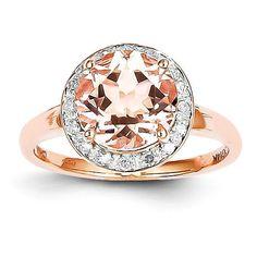 14k Rose Gold Diamond And Morganite Round Halo Ring