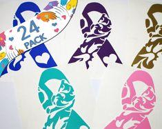 Cancer Awareness Ribbon Wholesale - 24 PACK- Vinyl Sticker Decals - Fundraising - Survivor Gift Making
