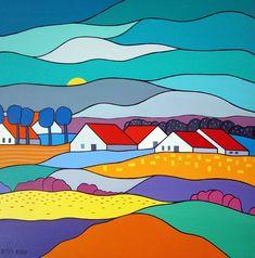 Kees Kooij - Bloeiende velden in holland - IQ Kunstuitleen & Galerie Landscape Quilts, Landscape Art, Naive Art, Whimsical Art, Collage Art, Art Lessons, Watercolor Art, Folk Art, Art Drawings