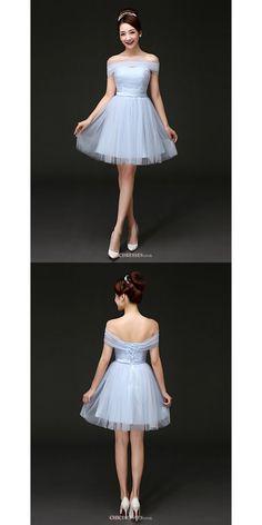 Short/Mini Tulle Bridesmaid Dress - Sky Blue A-line Off-the-shoulder  #shortbridesmaiddress