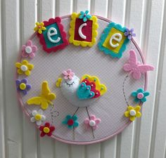 Pastel Renklerde, İsme Özel Kız Bebek Kasnak Pano- Kapı Süsü Çocuğunuzun odasına renk ve neşe katacak, soft renkli, isme özel, ahşap kasnak pano/ kapı,.... 182519