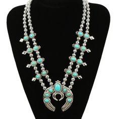 "Faux Turquoise Squash Blossom Necklace Faux Turquoise Squash Blossom Necklace. Measures approx. 16"" with 3"" extender.  Material - zinc alloy.  Gorgeous Piece!!! Jewelry Necklaces"