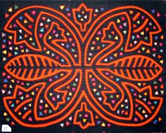 "Reverse applique called ""mola"" by the kuna people of the San Blas islands on the Carribean coast of Panama."