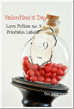 Love Potion #9 FREE printable...I'm thinking on sticker sheets for the mason jars we'll be drinking out of at our vday party
