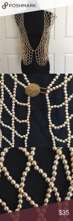 """VTG OOAK Gold Beaded Vest VTG OOAK Gold Beaded Vest/Excellent Condition/Made out of Gold Beads/Appear to be a hard plastic Bead/Bust 38""""/ This would work for most sizes depending on desired look! Vintage Jackets & Coats Vests"""