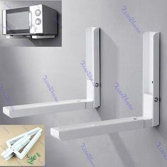 Foldable White Stretch Shelf Rack for Microwave Oven Wall Mount Bracket New | eBay