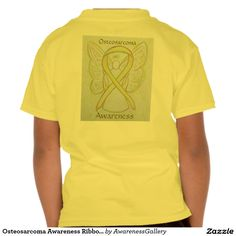 """Osteosarcoma Awareness Ribbon Angel Art Shirt / Osteosarcoma uses a yellow awareness ribbon. The angel t-shirt features the painting of a yellow awareness ribbon angel. There is small awareness angel on the t-shirt front like an awareness pin and a large guardian angel art image on the shirt back. T-shirt words state """"Osteosarcoma Awareness""""; however, the message can be can be customized with your own personal words."""