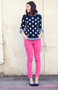 hot pink skinny jeans with navy