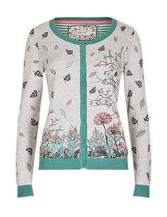 Cotton Rich Embroidered Birdhouse Cardigan | M&S