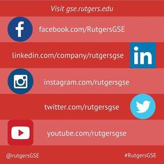 Love socializing just as much as we do? Then let's chat! Follow #RutgersGSE on social media to stay connected