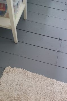 paint old floor boards w/ Ronseal Diamond Hard Floor Paint (slate grey)