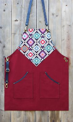 Leather Apron, Barista Apron, Embroidered Ethnic Apron Leather and Canvas – Couture – Welcome The uniteTv Sewing Aprons, Sewing Clothes, Men Clothes, Barista, Barber Apron, Restaurant Uniforms, Embroidered Apron, Personalized Aprons, Custom Aprons