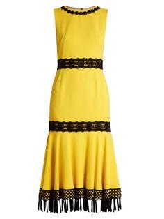 DOLCE & GABBANA Crochet-Trimmed Stretch-Cady Dress. #dolcegabbana #cloth #dress