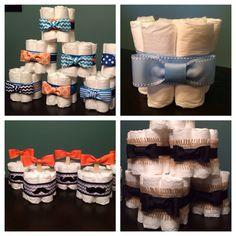 Custom Bowtie Theme Personalized MINI DIAPER CAKES Baby Shower Gift Table Decoration Diaper Bundles Centerpiece Bow Tie Little Man Gentleman