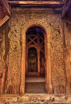 The western portal to the Borgund Stave church is intricately carved.