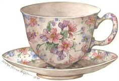 Minuet Cup and Saucer (Carolyn Shores Wright) Decoupage Vintage, Decoupage Paper, Watercolor Projects, Teapots And Cups, Tea Art, Tea Service, Cup And Saucer, Food Art, Tea Time