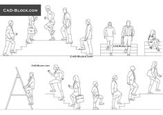 People Walking Up Stairs CAD drawings - best_drawing_pintous Human Figure Sketches, Human Sketch, Figure Sketching, Sketch Poses, Drawing Poses, Walking Stairs, How To Draw Stairs, Cad Blocks Free, Render People