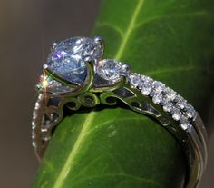 GACK!!!!!! 1.00 carat - Round Diamond Engagement Ring - 14K White Gold -  weddings - brides. $2,500.00, via Etsy.