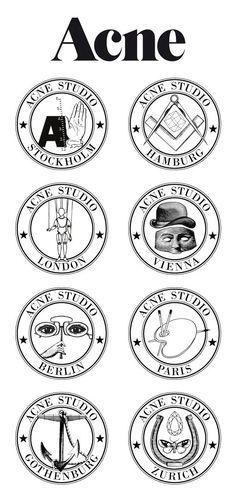 Graphic Design, Design Id Branding Logo, Logo Acne, Fashion Branding, Acne Project, Acne Studios Logo, Acne Symbols, Acne Logo, Cities Grafica