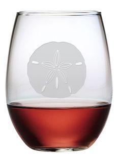 Sand Dollar Stemless Wine Glasses