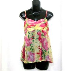 """Spring Babydoll Sunny yellow with pink & green floral print.  Lined bust, sheer bottom. Adjustable straps, elastic back. Measured flat 15"""" across bust 17"""" long On 30"""" x 23"""" x 30"""" mani Vanity Tops Tank Tops"""