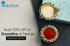 Dussehra Sale!! Avail special discount this Dussehra on selected products. Shop the collection at https://www.neerja.com/category/festival-special/diwali