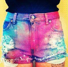 Tye dye galaxy shorts