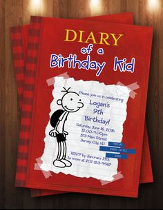 Unique and fun Diary of a Wimpy Kid birthday party invitation.  Other party supplies include custom favors and edible cake & cupcake toppers.