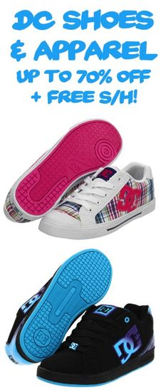 DC Shoes and Apparel: up to 70% off + FREE Shipping! #dc #shoes
