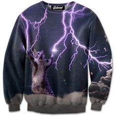 Beloved Shirts presents the Lightning Cat Sweatshirt Estimated 10 business day production time + shipping time, unless coupled with products that have a Printed Sweatshirts, Mens Sweatshirts, Crewneck Sweaters, Cat Sweaters, Beloved Shirts, Cat Sweatshirt, Long Hoodie, Jumpers, Harajuku