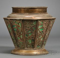 Planter in the Manner of Tiffany Studios   Copper and slag glass   Early 20th century