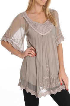Aniya Short Tunic in Khaki.