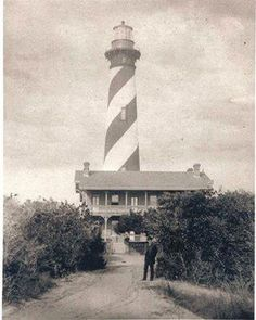 This is a photograph of architect James Renwick, Jr. in front of the St. Augustine Light Station in the 1880s. He lived here while working on the restoration of the Cathedral Basilica of St. Augustine and designing that building's bell tower. He is more famous for designing St. Patrick's Cathedral in New York and the Smithsonian Castle in Washington DC