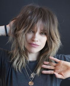 70 Best Variations of a Medium Shag Haircut for Your Distinctive Style - Mid-Length Shaggy Hairstyle With Bangs - Hair Styles 2016, Medium Hair Styles, Curly Hair Styles, Hairstyles With Bangs, Braided Hairstyles, Mid Length Hairstyles, Shaggy Bob Hairstyles, Bangs Hairstyle, Hairstyles Pictures