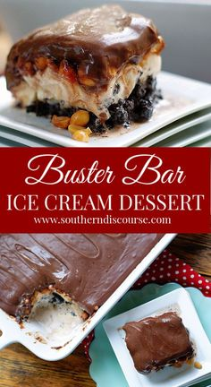 Buster Bar Ice Cream Dessert Loaded with salted peanuts and layer of vanilla ice cream on an easy homemade Oreo crust and topped with the best fudgey chocolate topping you've ever tasted, this homemade, family-sized take on Dairy Queen's Buster Bar is one Mini Desserts, Ice Cream Desserts, Frozen Desserts, Ice Cream Recipes, Just Desserts, Delicious Desserts, Frozen Treats, Ice Cream Cakes, Good Dessert Recipes