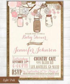 Shabby Chic Mason Jars Bridal Shower Invitation - DIY Printable File on Etsy, $15.00