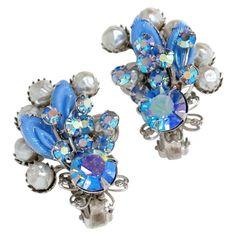 Rhinestone Earrings, Vintage Earrings, Statement Earrings, Vintage Costume Jewelry, Vintage Costumes, Vintage Jewelry, Arrow Earrings, Clip On Earrings, Blue Topaz Diamond