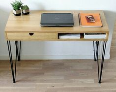 Desk with drawer and hairpin legs