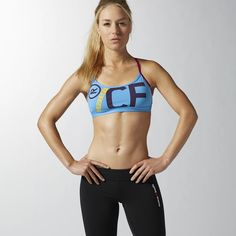 Reebok CrossFit Front Rack Bra ($50) ❤ liked on Polyvore featuring activewear, sports bras, california blue, logo sportswear, reebok activewear, reebok, reebok sports bra and reebok sportswear