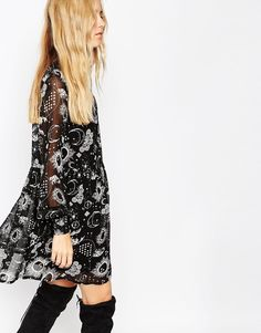 Image 3 of ASOS Swing Dress with High Neck in Moon and Stars Print