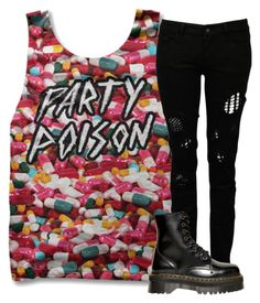 """Gooooooooood"" by chemistry-of-disasterology ❤ liked on Polyvore featuring Sober Is Sexy, Religion Clothing and Dr. Martens"