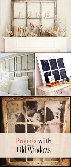 Projects with Old Windows • How to decorate with old windows, 11 projects and ideas that are charming and clever! Diy Projects With Old Windows, Old Window Ideas, Glass Window Ideas, Old Window Crafts, Deco Tape, Diy Casa, Vintage Home Decor, Vintage Diy, Home Projects