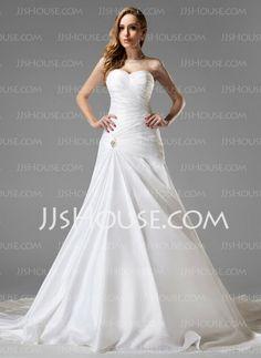 Wedding+Dresses+-+$199.99+-+A-Line/Princess+Sweetheart+Chapel+Train+Taffeta+Wedding+Dress+With+Ruffle+Crystal+Brooch+(002004225)+http://jjshouse.com/A-Line-Princess-Sweetheart-Chapel-Train-Taffeta-Wedding-Dress-With-Ruffle-Crystal-Brooch-002004225-g4225