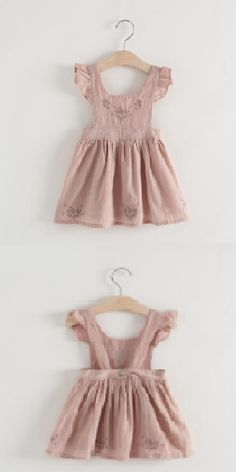 Pinafore Dress Embroidered Girls Dusty Pink