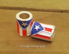 Spacer/European Beads for Snake Bracelets,Enamel,12x9mm (2pc) Puerto Rico Flag. Fits all Designer and European Charm Bracelets